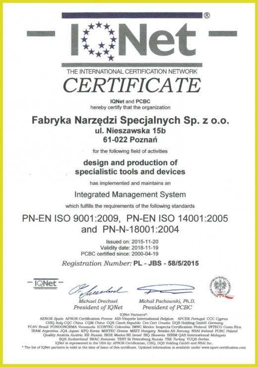Certyfikat PN-EN ISO 9001:2009, PN-EN ISO 14001:2005 i PN-N-18001:2004