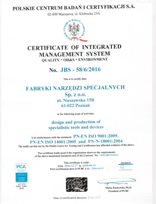 Certyfikat PN-EN ISO 90001:2009, PN-EN ISO 14001:2005 i PN-N-18001:2004