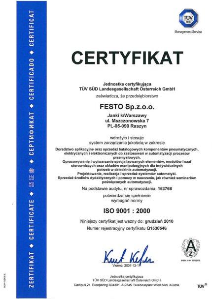 Certyfikat ISO 9001: 2000 firmy Festo