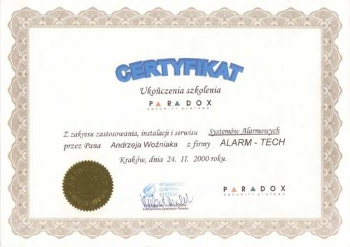 Certyfikat ukończenia szkolenia Paradox