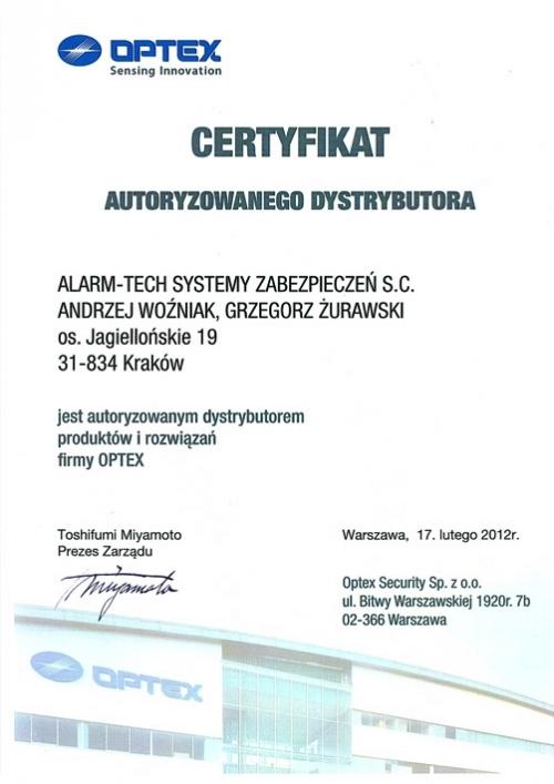 Certyfikat Autoryzowanego Dystrybutora Optex