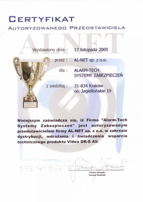Certyfikat Autoryzowanego Przedstawiciela Alnet