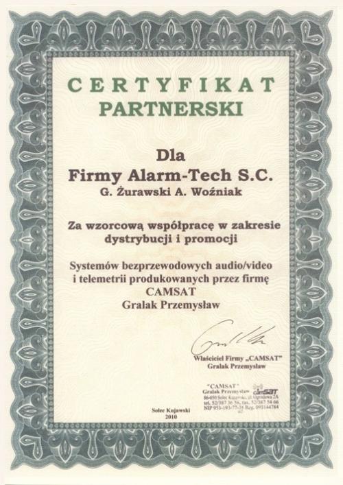 Certyfikat partnerski CAMSAT