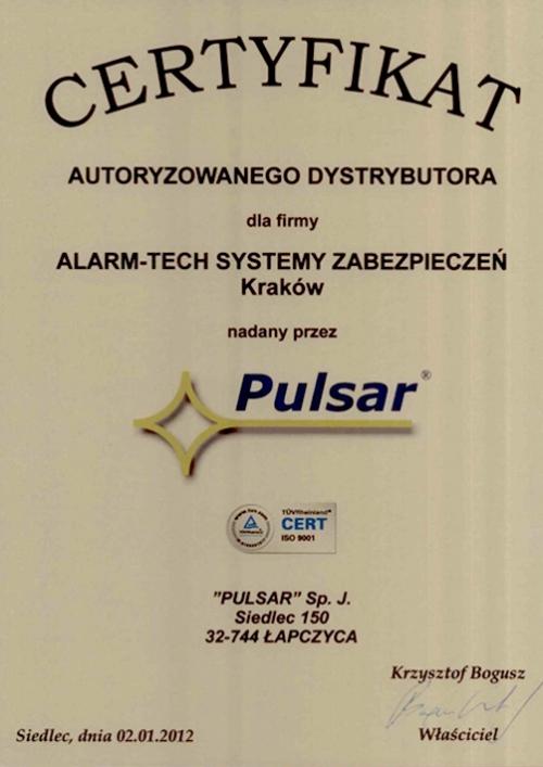 Certyfikat Autoryzowanego dystrybutora systemów alarmowych PULSAR