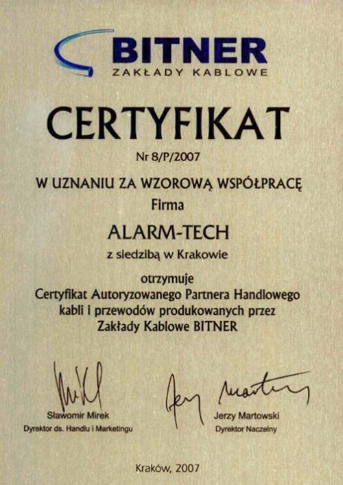 Certyfikat Autoryzowanego Partnera Handlowego kabli i przewodów firmy BITNER
