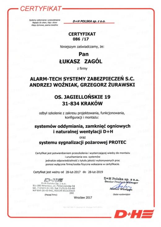 Certyfikat D+H POLSKA sp. z .o.o.