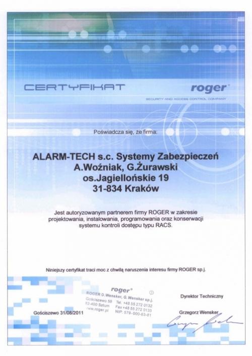 Certyfikat Autoryzowanego Partnera ROGER