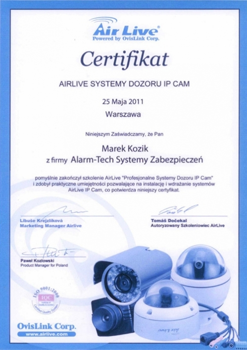 Certyfikat AIRLIVE SYSTEMY DOZORU IP CAM
