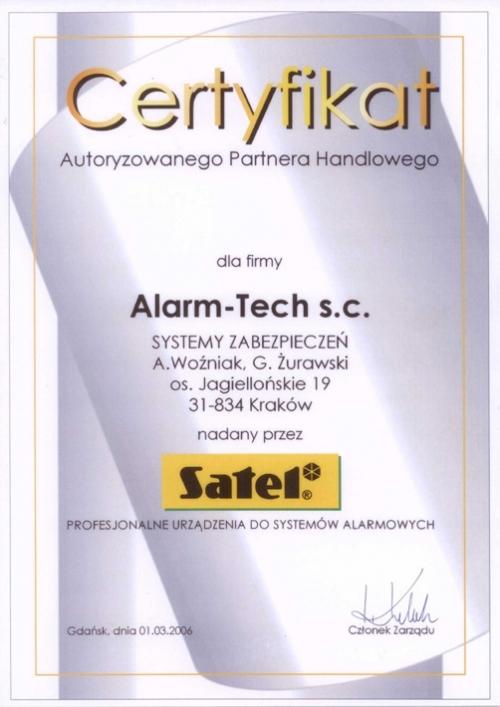 Certyfikat Autoryzowanego Partnera Handlowego SATEL