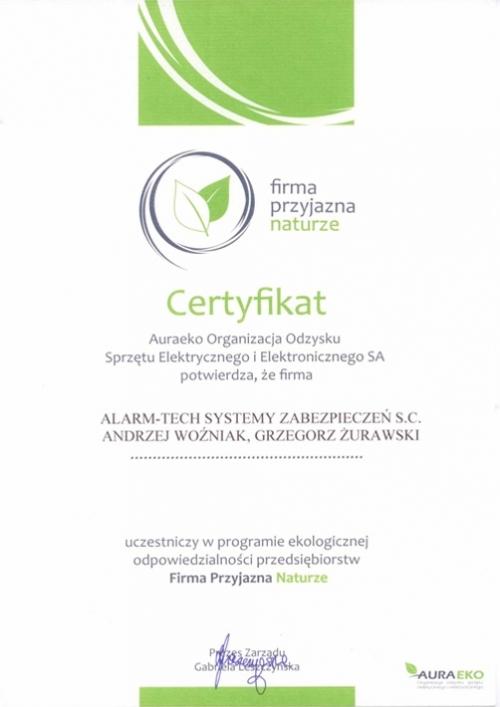 Certyfikat AuraEKO