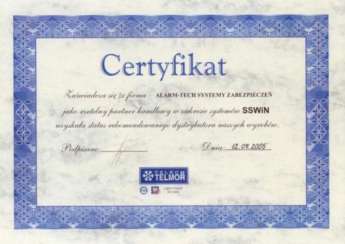 Certyfikat przedstawiciela handlowego TELMOS SSWiN