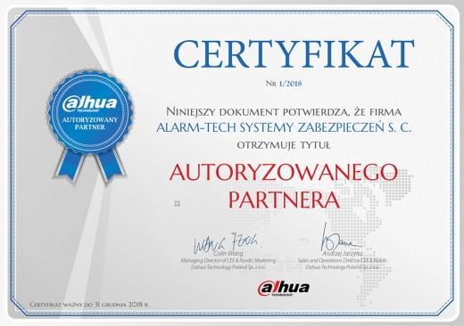 Certyfikat Autoryzowany Partner alhua
