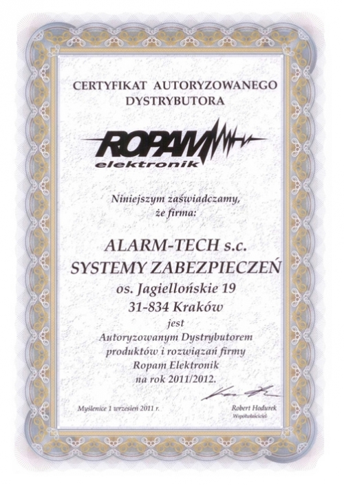 Certyfikat Autoryzowanego Dystrybutora systemów alarmowych ROPAM