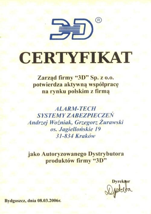 """Certyfikat Autoryzowanego Dystrybutora produktów firmy """"3D"""""""
