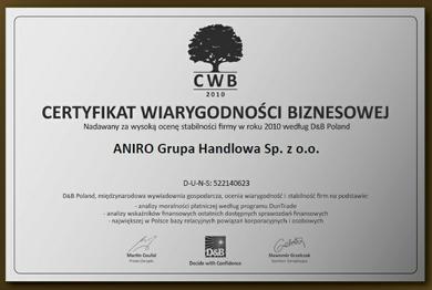 Certyfikat Wiarygodności Biznesowej dla firmy ANIRO