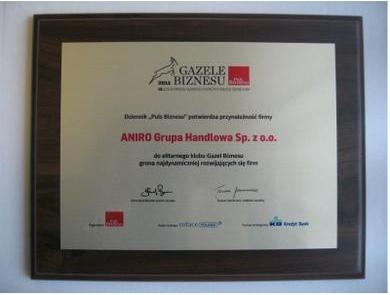 Gazela Biznesu 2011 dla firmy ANIRO
