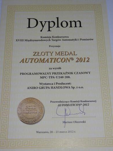 Złoty Medal dla ANIRO za programowalny przekaźnik czasowy