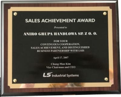 Nagroda Sales Achievement firmy ANIRO