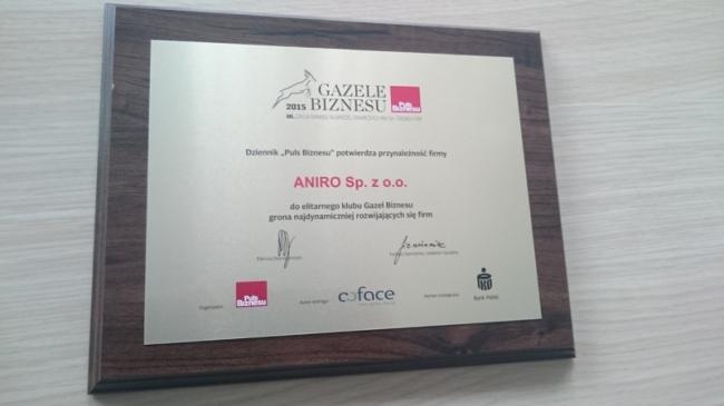 Gazele Biznesu 2015 ANIRO
