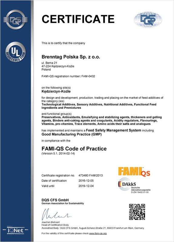 Certyfikat FAMI-QS