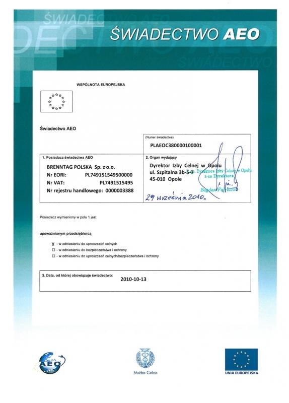 Świadectwo AEO (status upoważnionego przedsiębiorcy) Brenntag
