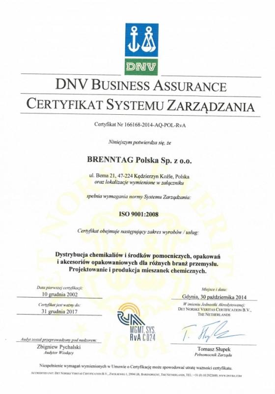 Certyfikat ISO 9001:2008 Brenntag