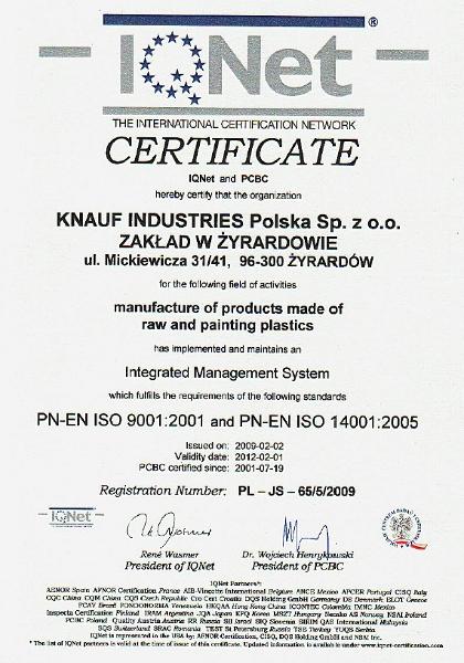Knauf Industries, Certyfikat PN-EN ISO 9001:2001 i PN-EN ISO 14001:2005