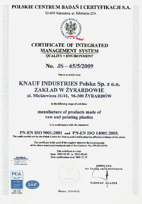 Certyfikat  JS-65/5-2009, Knauf Industries