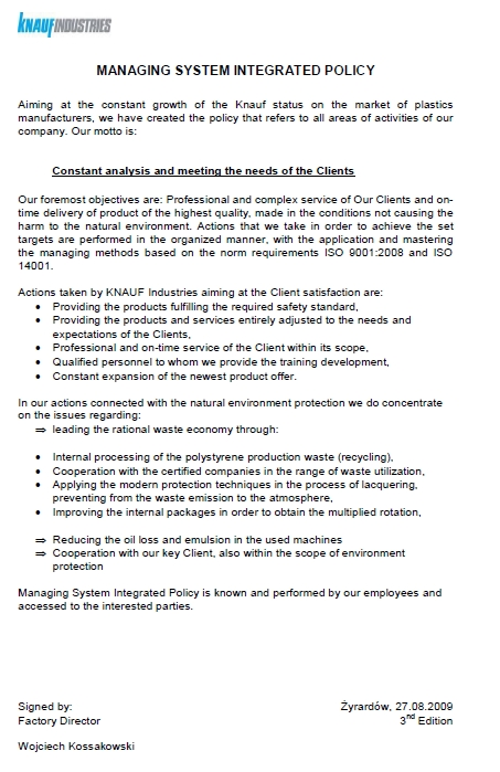 Knauf Industries, Polityka Zintegrowanego Systemu Zarządzania