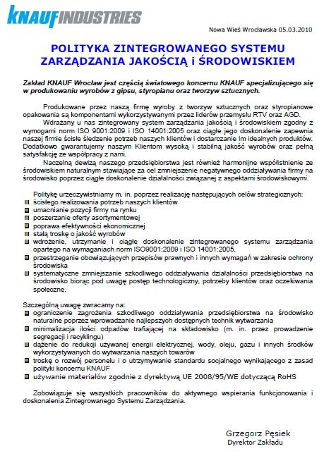 Polityka Zintegrowanego Systemu  Zarządzania Jakością i Środowiskiem, Knauf Industries