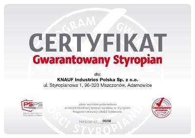 Certyfikat Gwarantowany Styropian Knauf Therm