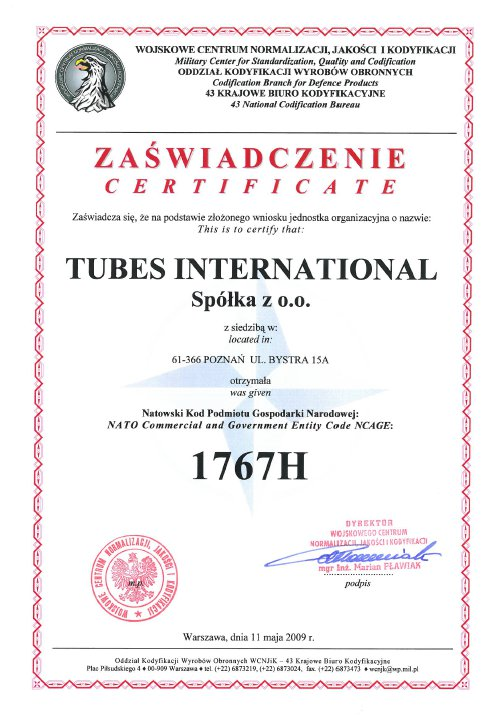Certyfikat Natowski Kod Gospodarki Narodowej, Tubes International