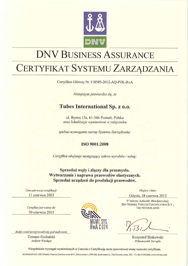 Certyfikat Systemu Zarządzania DNV, DNV ISO 9001 Tubes International