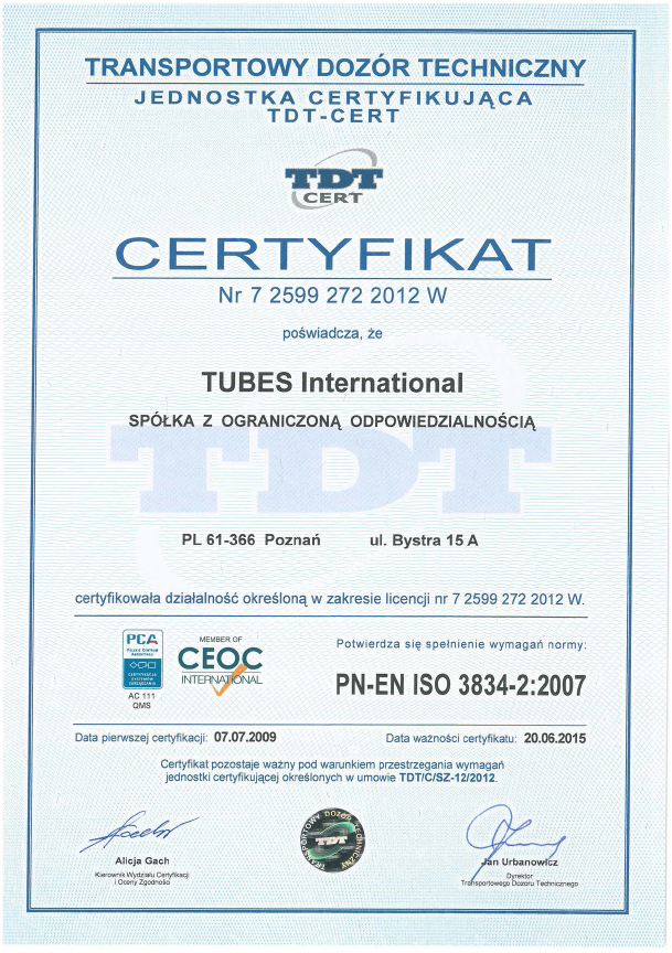 TDT ISO 3834 Tubes International