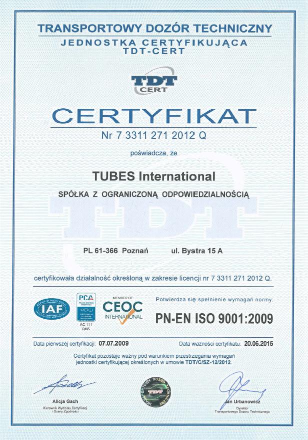 Certyfikat TDT ISO 9001 Tubes International