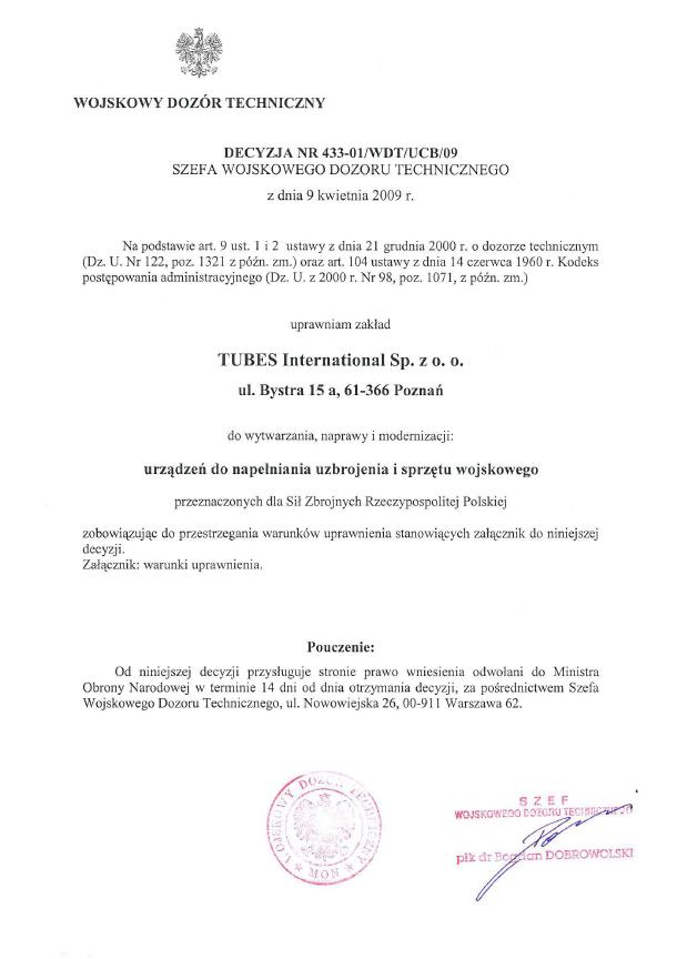 WDT Uprawnienie Wojskowy Dozór Techniczny, Tubes International
