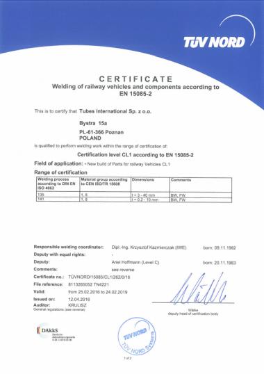 Certyfikat TUV NORD EN 15085-2