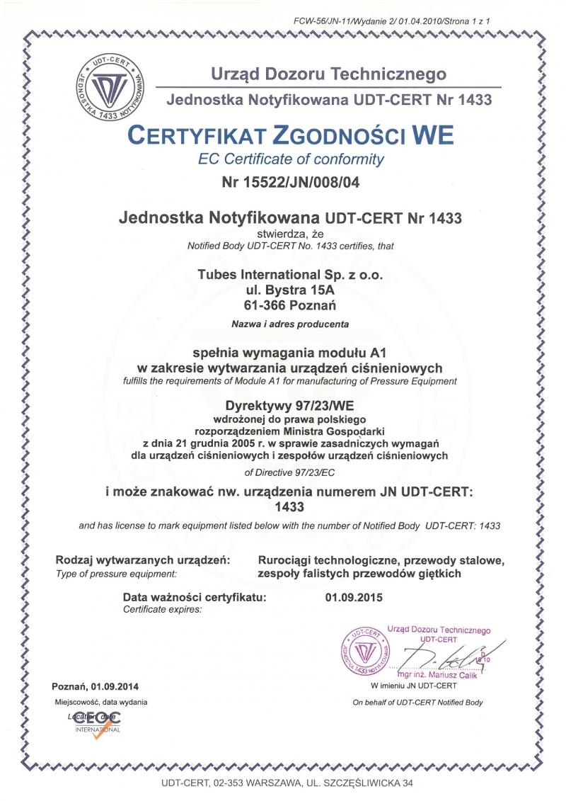 Certyfikat Zgodności WE