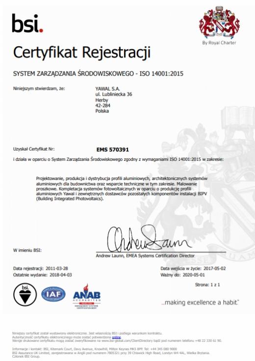 Certyfikat ISO 14001:2015 dla YAWAL