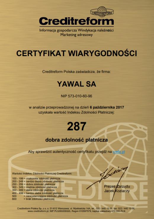 Certyfikat wiarygoności