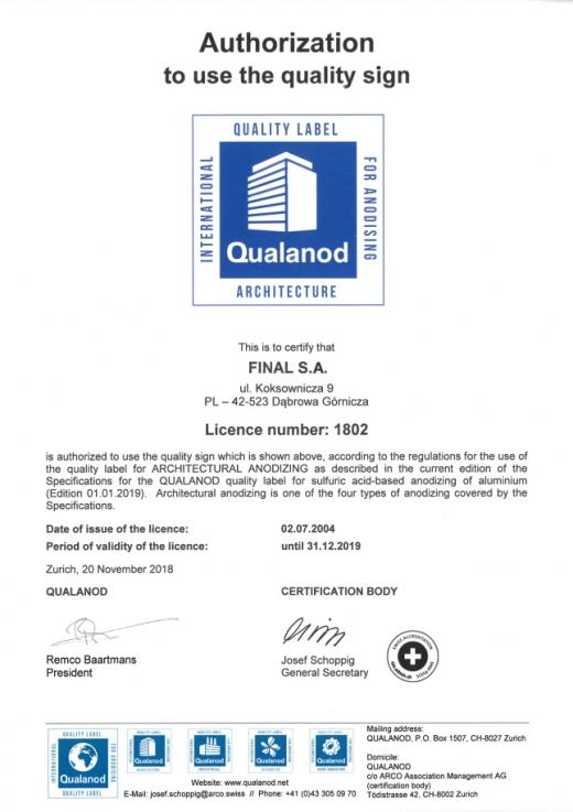 Certyfikat QUALIANOD YAWAL