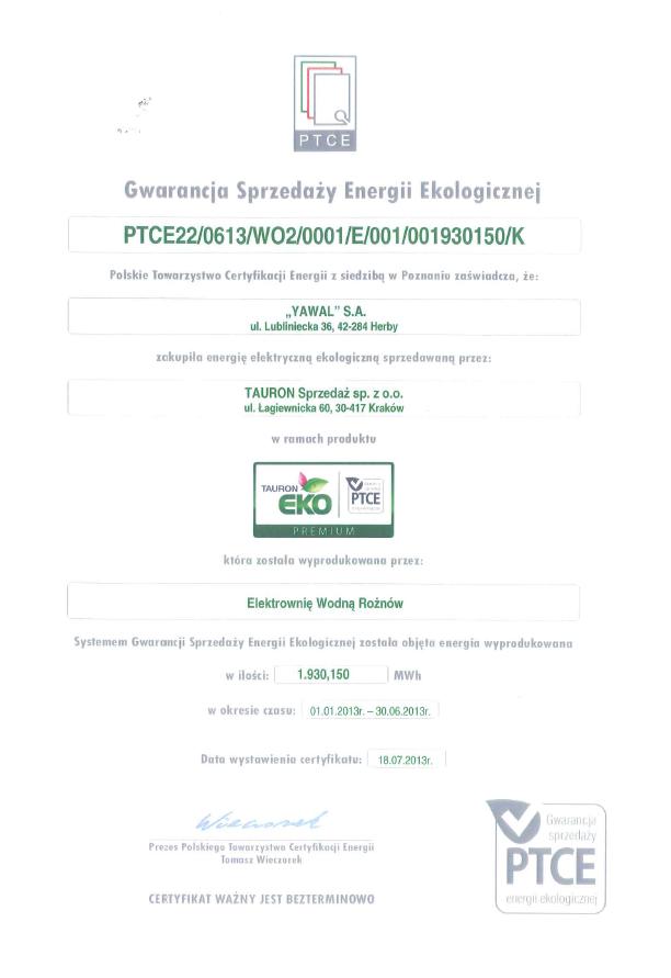 Gwarancja Sprzedaży Energii Ekologicznej YAWAL