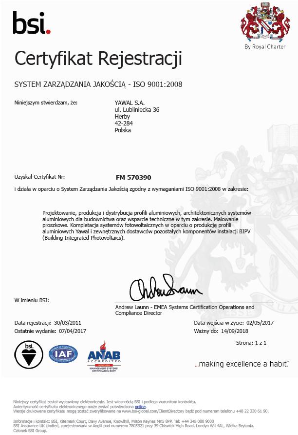 Certyfikat ISO 9001:2008 YAWAL