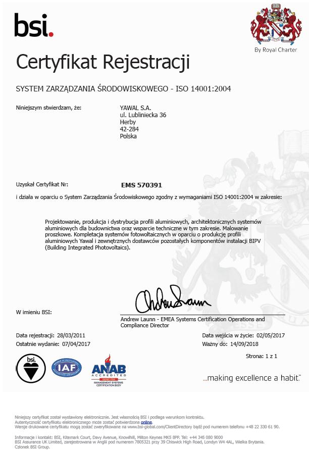 Certyfikat ISO 14001:2004 YAWAL