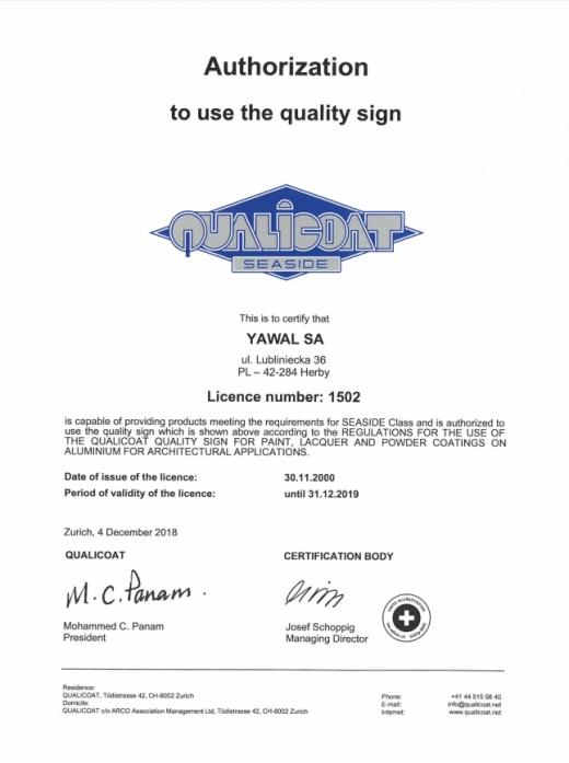 Certyfikat QUALICOAT YAWAL