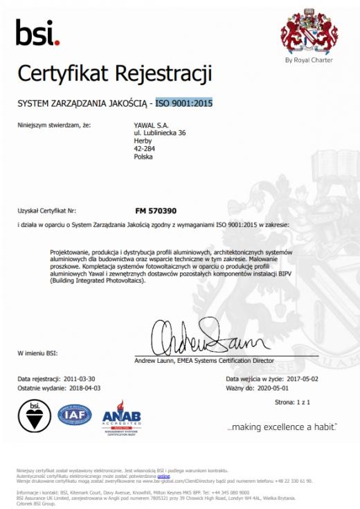 Certyfikat ISO 9001:2015 dla YAWAL