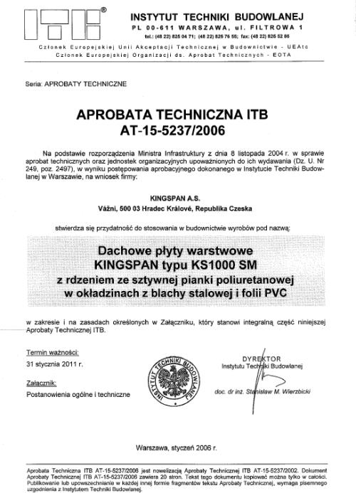 Certyfikat- Aprobata na płyty dachowe typu SM dla KINGSPAN