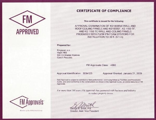 Certyfikat 'FM Approval' dla KINGSPAN