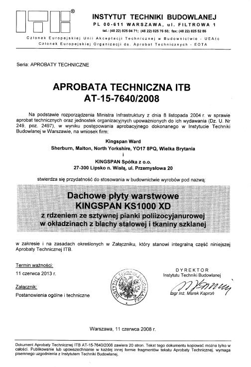 Aprobata techniczna na dachowe płyty warstwowe KINGSPAN KS1000 XD