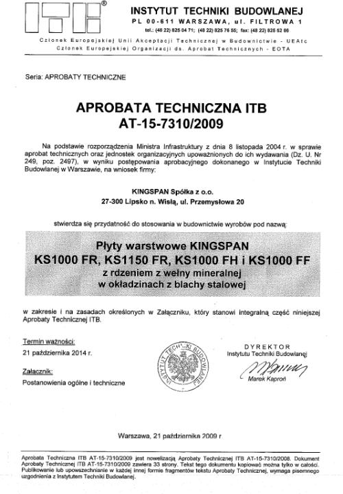 Aprobata techniczna na płyty warstwowe KINGSPAN KS 1000 FR, KS 1000 FH i KS 1000 FF
